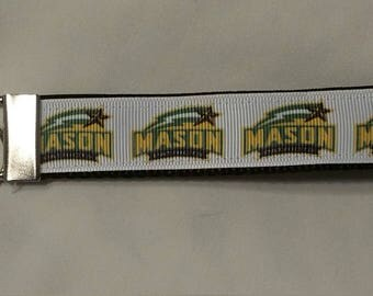Handcrafted George Mason University Patriots Key Chain Wristlet