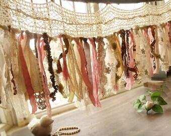 Rag Blush Pinks & Gray Gold Shabby Boho Chic Garland Curtain Valance Vintage Lace
