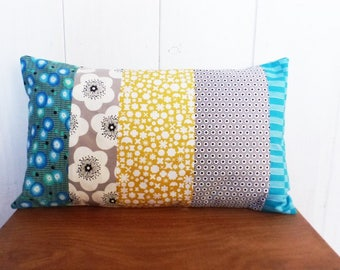 Cushion cover 50 x 30 cm patchwork fabric blue, yellow and grey, flowers and shapes, back star asanohas