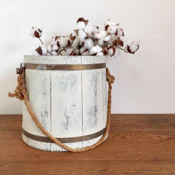 Wooden Bucket - Rustic Farmhouse Decor - Wooden Planter - White Pail - Farmhouse Style Decor - Distressed White Wood - White Bucket