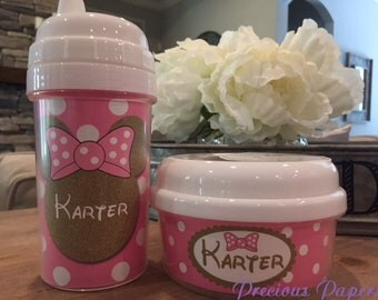 Personalized Gold Minnie Mouse snack and sippy cups kids Minnie snack holder cup kids sippy cup - Gold Minnie sippy cup and snack cups
