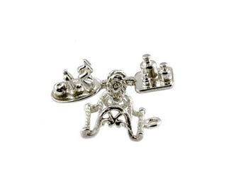 Sterling Silver Movable Baby Scales Charm For Bracelets