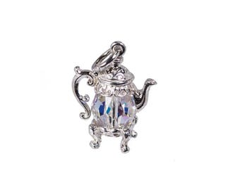 Sterling Silver & Swarovski Crystal Set Coffee Pot  Charm For Bracelets