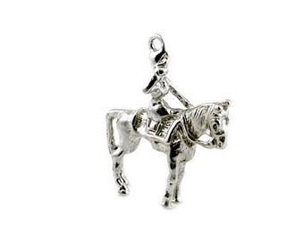 Sterling Silver Queen On Horseback Charm For Bracelets