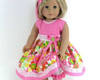 18 inch Clothes Fit American Girl Doll - Dress, Headband, Bloomers - Pink, Green, Yellow Floral - Shoes and Socks Option