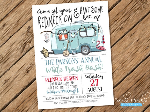 White trash bash invitation redneck party invitation printable il570xn stopboris Image collections