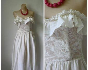 Sale Vintage Ivory Ruffle Strapless Dress / 1970's Ruffled Dress / Vtg Bohemian Midi Dress / Beach Wedding Dress / Ruffles Lace Dress  S