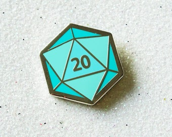 D20 - Hard Enamel Pin - Dungeons and Dragons pin badge - DnD dice lapel pin