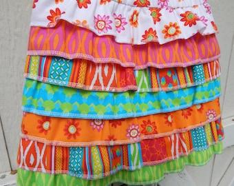 Ready to Ship Little Girls Ruffled Skirt Rainbow Skirtk Ready To Ship Skirt Birthday Skirt Little Girls Spring Skirt