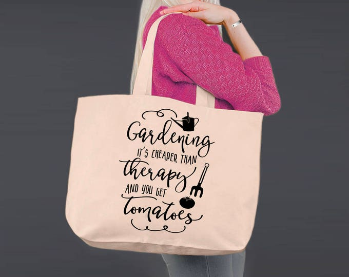 Gardening Is Cheaper Than Therapy | Gardening Gift | Gift for Gardener | Tote Bag | Canvas Tote Bag | Canvas Tote | Korena Loves