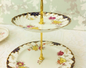 Rich Cobalt and Gold Edwardian 2 Tier Mini Cake Stand