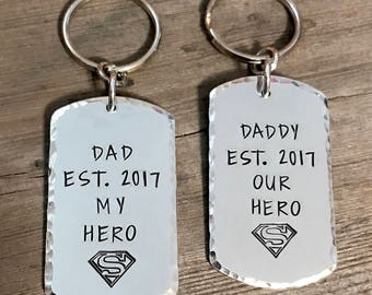 Hand Stamped Dad Key Chain, Daddy Super Hero Brushed Aluminum Personalized Superhero Fathers Day Gift