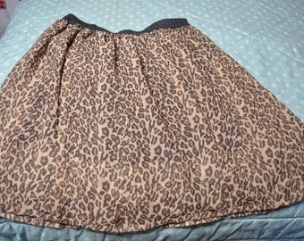 Leopard Print Skirt with Elastic Waistband 100% Rayon by Pilani's