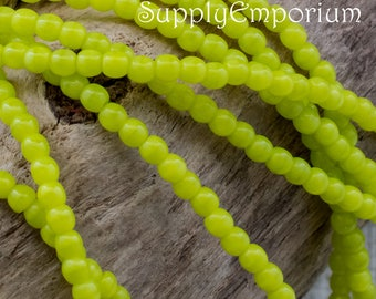 2mm Chartreuse Smooth Druk Czech Glass Beads - 4345 - Chartreuse 2mm Druk - 100 Beads