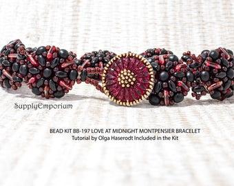 Bead Kit BB-197 Love at Midnight Montpensier Bracelet, Tutorial by Olga Haserodt, Black and Red Montpensier Bead Pack BB197 Love at Midnight