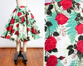 BEAUTIFUL 1950s ILENE RICKY Red Rose Garden Cotton Circle Skirt with Sequin Details and Pockets // Pin Up // Bombshell // Mid Century