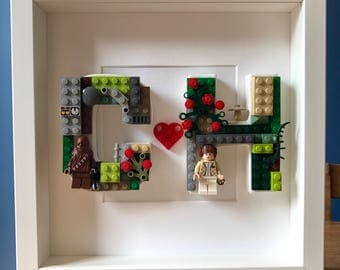 Lego Double Initials Picture. Customised Valentines, New Home, Housewarming, Anniversary, Birthday Gift, Present, Personalised, unusual.