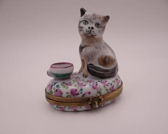 Vintage Limoges France Hand Painted Chamont Kitten Trinket Box or Pill Box