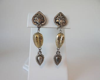 """Vintage Silver and Gold Tone Dangling Clip on Earrings on Silver Tone Setting - 2.25"""" Long - Dangling Clip Earrings"""