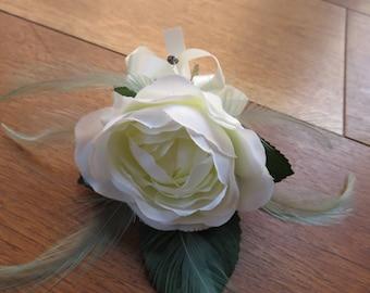 Flower Corsage, Cream Rose. Wedding, Prom or Event.