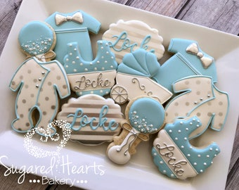 Baby Boy Blue And Silver Baby Shower Cookies   1 Dozen