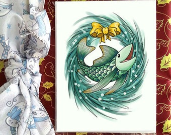 Christmans greetings card, Petit Poisson, for holidays and special occasion, envelope included, christmas card
