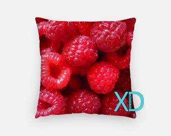 Raspberry Pillow, Summer Berries Pillow Cover, Fresh Pillow Case, Red Pillow, Artistic Design, Home Decor, Decorative Pillow Case, Sham