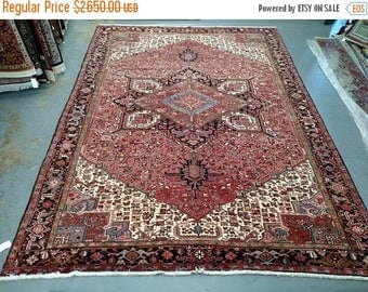 SUMMER CLEARANCE 1980s Hand-Knotted Vintage Heriz Gorovan Persian Rug (3618)