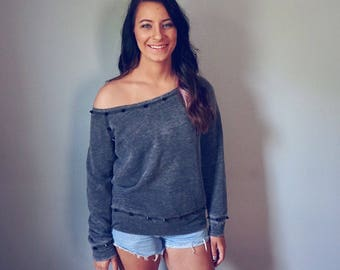 Hand Studded Off the Shoulder Acid Wash Gray Sweatshirt with Black Cone Studs Size Medium