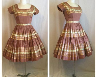 Vintage 1950S Brown/Gold Mexican Patio Dress M/L