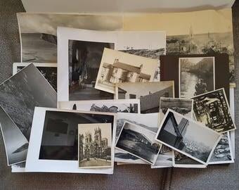 Vintage Photo Pack of UK 20 photos (L), UK United Kingdom scenery, ephemera junk journals scrapbooks smashbook, sepia, black and white