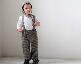 Baby boy pants Baby suspender pants Baby boy wool outfit Baby trousers Baby boy knickers Baby clothes Family photo 1st Birthday outfit