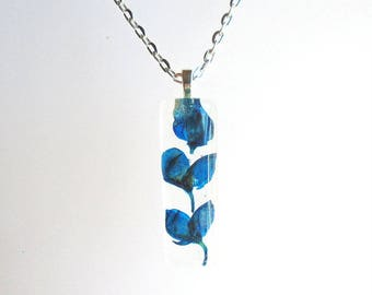 Texas Bluebonnet Real Pressed Flower Jewelry Rectangle Resin Pendant Necklace