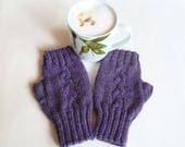 Sale Purple Wool Fingerless Gloves Mittens, Women's Cable Hand Knitted Hand Warmers, Fingerless Wool Alpaca Wrist Warmers, Clickclackknits