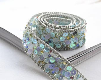 Sequin beads sash applique, Iron on applique, Sew on applique, White Stones Sash Supply, Sew On Trim, Silver Trim, Crystal Gem Trim
