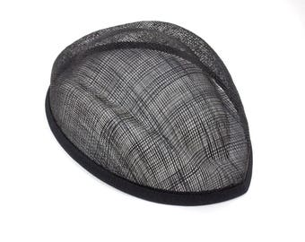 Sinamay Stewardess Black Hat Base - Available in 3 Colors