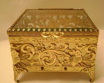Vintage Filigree Square Jewel Box, Trinket Box, Hollywood Regency