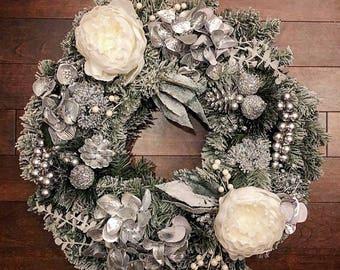 Winter Wreaths for Front Door, Winter Wreath, Holiday Decor, Elegant Wreath, Winter Door Wreath, Holiday Decor, Christmas Wreath