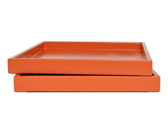 Decorative Tray for Coffee Table, Lacquer Tray, Coffee Table Tray, Ottoman Tray, Catchall, Orange Tray