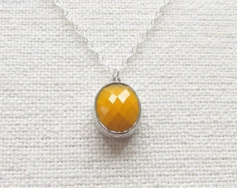 Mustard Necklace, Silver Chunky Glass Pendant Sterling Silver Chain, Minimalist Jewelry,