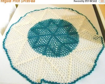Summer Sale Vintage Crocheted Teal and White Star Doily, Home Decor, Shabby Chic, Sewing Projects
