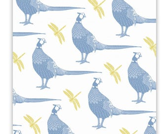 100% cotton tea towel with pheasants and dragonflys repeated