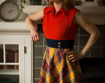 70's Coral and navy plaid dress, S
