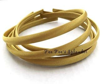 Satin Lined headband - Old Gold Satin headband- 10 mm- Hard headband- DIY headband blank