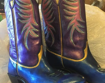 Customized western boots, women's size 8 M, hand painted cowgirl boots, one of a kind
