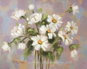 Pastel Daisies...Original Oil Painting by Maresa Lilley, SND