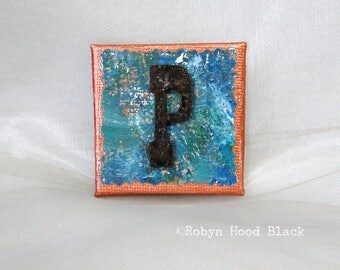 Rustic Letter P and Painted Verdigris Magnet 2 X 2