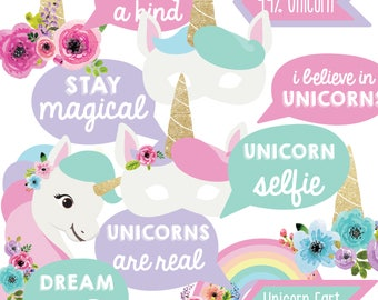 Unicorn Party Photo Booth Props - Unicorn Party Decorations - Instant Download