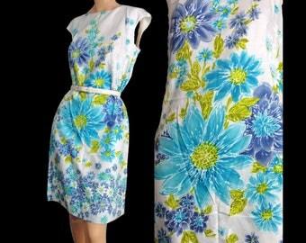 Vintage 60s Sundress Floral Cotton Sleeveless Summer Shift Dress Blue Green Flutterbye