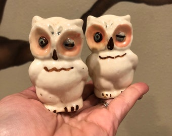 Vintage Shawnee Pottery winking Owl shakers